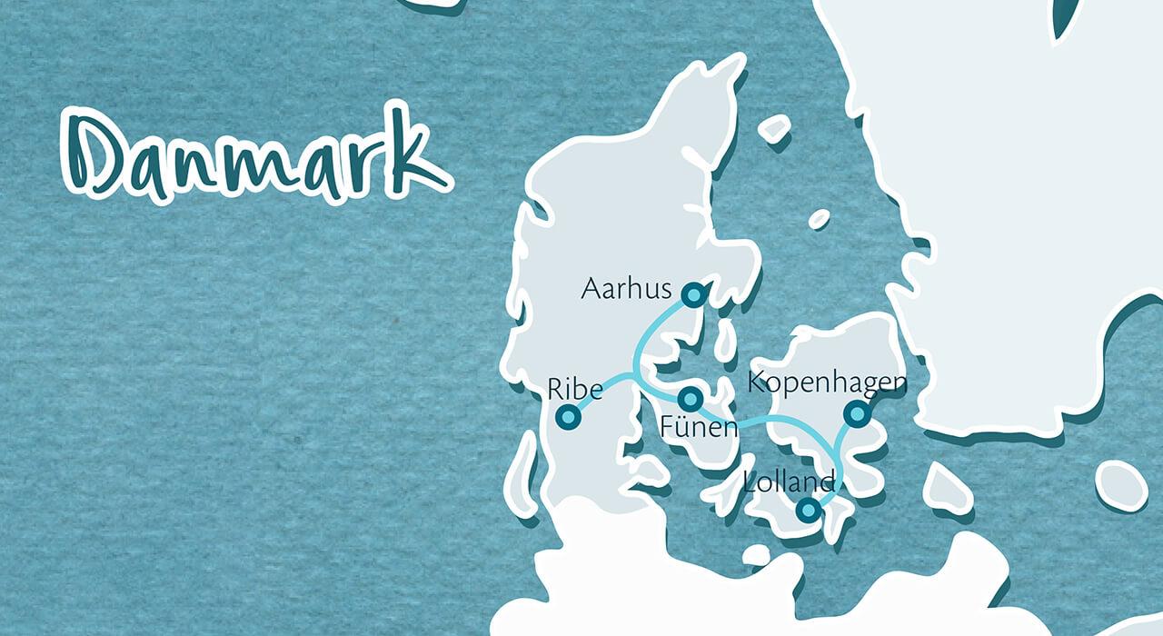 Fjordkind Reisen Karte gezeichnet von Nina Heinke