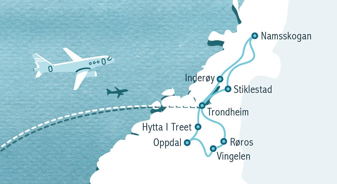 Karte mit den Ländern Island, Norwegen, Dänemark, Schweden und Finnland