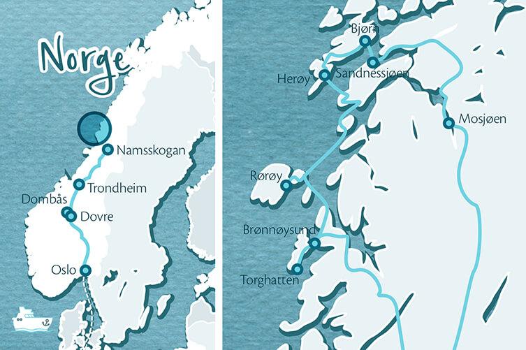 Karte Inselhuepfen Helgelandskueste